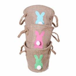 Round tubes online shopping - Jute Easter Basket Restoring Ancient Ways Handbag Silk Screen Printing Rabbit Skep Straight Tube Plush Tail High Capacity czC1