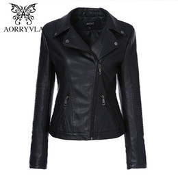 $enCountryForm.capitalKeyWord Australia - AORRYVLA 2019 New Spring Women Faux Leather Jacket Fashion Black Color Turn-Down Collar Zippers Short Ladies PU Leather Jacket T5190612