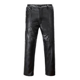 faux leather bootcut pants 2019 - Men's clothing 2018 winter plus velvet thick leather pants dirty and oil-proof windproof moisture-proof motorcycle