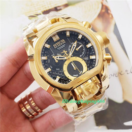mens 52mm watches UK - Oringal TOP quality Mens Dual Movement 52mm 28410 Reserve JT Bolt Zeus Magnum gold Chronograph Watch