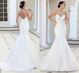 Yellow Gray Wedding Dresses Australia - 2019 Modest Lace Mermaid Wedding Dresses Sweetheart Strapless Appliques Tulle Backless Wedding Gowns Beach Church Bridal Dresses