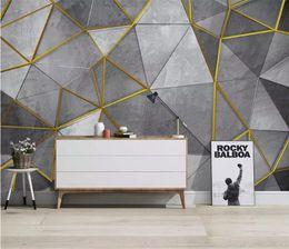 Vente en gros Personnalisé nordique moderne minimaliste papier peint de papier peint personnalité géométrique murale TV fond 3d papier peint