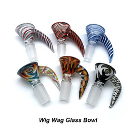 Bongs Bowl 18mm Australia - DHL!!! Wig Wag Glass Bowl With Handle 14mm 18mm Male Heady Glass Bowl Bong Bowl Piece Smoking Aceesories For Bongs Glass Water Pipes