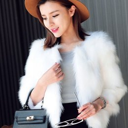 Discount faux hairy jacket - 2019 Fur Faux Fur Jackets Coat for Women Short Style Wedding Outwear Hairy Coat Plus Size Winter Fluffy Faux Outwear