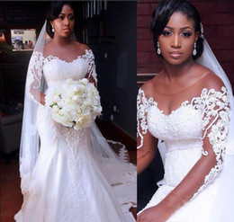 $enCountryForm.capitalKeyWord Australia - African Plus Size Wedding Dresses With Sheer Neckline 3D Appliques Illusion Long Sleeves Mermaid Wedding Gowns Beads Sequins Bridal Dress