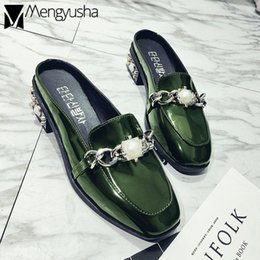 Shiny SlipperS online shopping - British Luxury pearls oxfords mules female quality shiny leather closed toe slides low heel loafer punk stud slippers women shoe