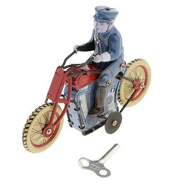 ride animal toys NZ - Retro Policeman Riding Motorcycle Model Wind-up Clockwork Tin Toy Collection Gift for Kids Children Adult SH190913