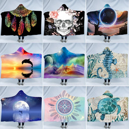 China Soft Hooded Blanket Fashion Dreamcatcher Fleece Blankets Kids Throw Wrap Winter Warm Bedding Supplies Christmas Gift TTA1757 cheap wholesale fleece blankets suppliers