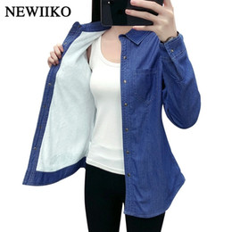 $enCountryForm.capitalKeyWord Australia - New Autumn Winter Women Cotton Flannel Warm Thickening Pocket Long Sleeve Blouse Denim Shirt Casual Flannel Tops Plus Size Y190823