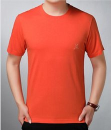 Collar T Shirts Orange Men Australia - Orange Middle-aged men's short sleeve T-shirt, round collar, pure cotton, loose-sized daddy's middle-aged and old men's T-shirt in summer
