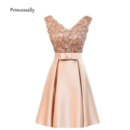 $enCountryForm.capitalKeyWord UK - New Short Gold Bridesmaid Dresses Mixed Styles Lace V neck Satin A-line Elegant Cheap Prom Party Gown Special Occasion