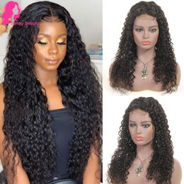 Wet Wavy Hairstyles For Black Hair Australia - Malaysian Water Wave Human Hair 4x4 Lace Front Closure Wigs For Black Women 130% 100 Human Hair Wig with Baby Hair wet wavy Bella Longspring