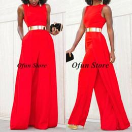 $enCountryForm.capitalKeyWord Australia - Fashion Jewel Neck Sleeveless Red Jumpsuits Evening Dresses Chiffon Prom Jumpsuit Gold Sash With Detachable Train