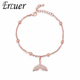 Wholesale ERLUER Charm Bracelets for Women Crystal Mermaid Tail Jewelry Girl Bead Adjustable Zircon Bracelet Fasion Jewellery Accessories