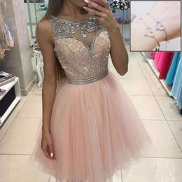 Royal blue Red bRacelet online shopping - Glitering Pink Sequins Crystals Short Prom Dresses A Line Tulle Crew Neck Exquisite Beading Girls Homecoming Dress Free Bracelet AL2296