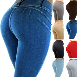 Lifting Jeans Australia - Fashion Women Honey Peach push up Hip Stretch Skinny Leg Casual Solid Butt Lifting Elastic Sexy Pencil Pants Trousers Jeans