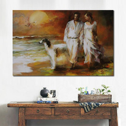 couple painting art UK - Portrait art couple Walking on the beach by Willem Haenraets Landscapes Oil Painting modern High quality Hand painted