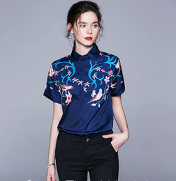 Wholesale blouse birds print online – design New listing bird Flora printed short sleeve navy blue women blouses spring fashion summer ladies shirts