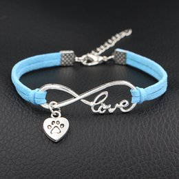 Heart Prints Australia - New Style Latest Fashion Alloy Braided Blue Leather Suede Cuff Bracelets & Bangles Infinity Love Dog Paw Prints Heart Jewelry for Women Men