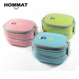 Green Box Containers Australia - HOMMAT 1 2 Tier Stainless Steel Japanese Bento Lunch Box Thermo Bento Boxes Portable Lunchbox Food Container Thermal Airtight C18112301