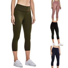 $enCountryForm.capitalKeyWord Australia - New ladies yoga pants high waist sports solid color pocket hips seven points yoga pants sports leggings training