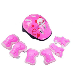 elbow girl UK - 7pcs set PVC+PP Helmet Protective Gear Elbow Pads For Bicycle Skateboard Ice Skate Roller Adult Kids Girls Gift Fits 3-12years T200620