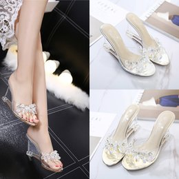 Wholesale Slope Sandals Woman Sexy Summer Crystal Transparent High heeled Shoes Rhinestone Slope Sandals