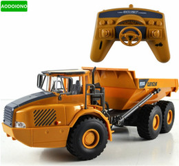 Car Lights Australia - Rc Truck Big Dump Truck Engineering Vehicles Loaded Sand Car With Led Light And Operation Voice Toy For Kids Gift