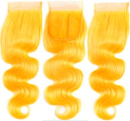 peruvian lace closure fast shipping UK - 4x4 Lace Closure 10A Grade Yellow Color Body Wave Malaysian Virgin Human Hair Swiss Lace Top Closure for Beautiful Woman Fast Free Shipping