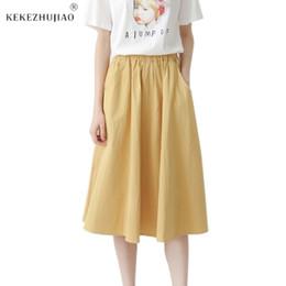 535f70fb80 Plus Size Yellow Maxi Skirt Australia - Women Maxi White Cotton Skirt Girl  Casual Midi Elastic