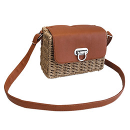 a86bf240c3c3f Women's woven Casual handbags Handmade Straw Bag+PU Leather girls Vintage  Square Straw Crossbody Bag Weaving shoulder bag(Brow