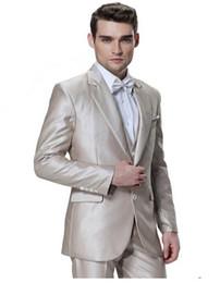 Gray Suit Champagne Tie UK - Excellent Groom Tuxedos Champagne Mens Wedding Tuxedos Notch Lapel Slim Fit Man Jacket Blazer Fashion 3 Piece Suit(Jacket+Pants+Vest+Tie)197