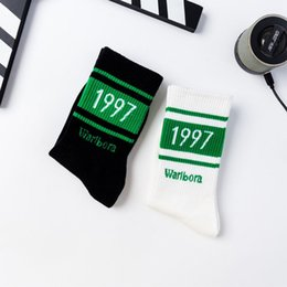 number blocks Canada - Unisex Couples Autumn Harajuku Rib Trim Long Crew Socks Color Block Stripes 1997 Numbers Printed Retro Cotton Student