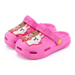 Cute Sandals For Baby Girls Australia - Girls Slippers Summer Cute Cartoon Beach Children Clogs Shoes Bear Bunny Water Anti Slip Kids Croc Shoes For Baby Boys Sandals