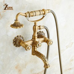 $enCountryForm.capitalKeyWord Australia - ZGRK Shower System Bathroom Faucet Hand Shower Set Brass Mixer Taps Top Spray Rainfall Shower Head Washing Faucets Antique