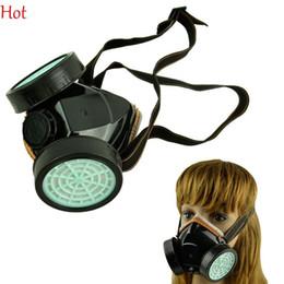 Venta al por mayor de Respirador en aerosol Máscara de gas para proteger contra la niebla del polvo Humos metálicos Pintura química Espray para polvo Máscara facial 2 Cartucho de filtro Respirador