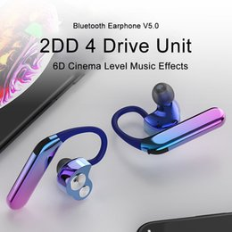 Blackberry Plate Australia - TWS V5.0 X6 Bluetooth Earphone Wireless Headphones Double Dynamic 4 Drive Unit IPX7 Waterproof Plating Headset With Microphone