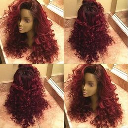 Ombre Peruvian Full Lace Wigs Australia - Two Tone Ombre Burgundy Full Lace Human Hair Wigs Loose Wavy Peruvian Virgin Hair Wine Red 150% Density Lace Front Wigs