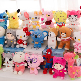 Wholesale Stuffed Animals Plush toys CM Kids Dolls Wedding inch Hello Kitty Pikachu Spiderman Crayon Shinchan Elephant Cock Bear Duck Snoopy