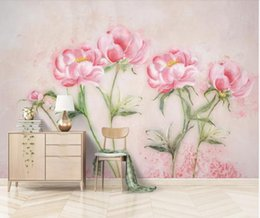Chinese  Pink Peony Flower Wall Papers Papel Mural Madera Canvas Wallpaper for Living Room TV Background 3d Wall Murals Papel De Parede manufacturers