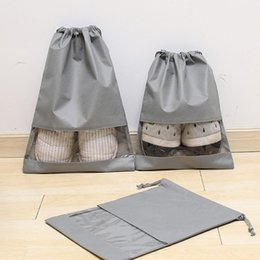 Japan Clothes Wholesalers Australia - Travel Portable Transparent Drawstring Dust Proof Shoes Storage Bags Waterproof Clothing Household Products Wardrobe