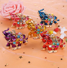 Discount cute car keychains DHL 3D Crystal Rhinestone Cute Elephant Metal Keychain Keyring Car Keychains Purse Charms Handbag Pendant metal animal p