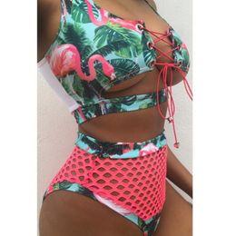 d25a78cbccbb4 Women bikini set High waist padded bathing suits sexy print lace up bandage  padded swimsuit swimwear Hollow out DHL wholesale