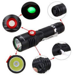 Discount tactical flashlight for self defense 2000 lumens XM-L2 LED Flashlight USB Rechargeable Self Defense Torch Lamp Bicycle Light Waterproof for Outdoor Camping R
