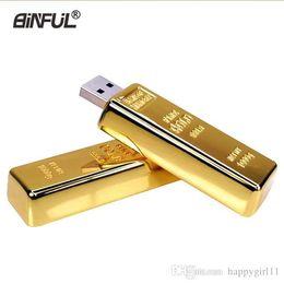 Golden Flash Drive Australia - Happy golden usb flash drive Metal pen drive 4GB 8GB 16GB 32GB 64GB Gold Bar USB2.0 Flash memory pendrive Bullion Stick disk gift