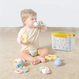 $enCountryForm.capitalKeyWord Australia - 8pcs set Teether rattles Baby toys for teeth Toddler catching ball Infant bell Crawl Grasp to be boiled disinfected children toy