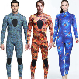 $enCountryForm.capitalKeyWord Australia - 3mm Professional Wesuit Print Body Shaper Tight Shaping Clothes Men Women Diving Wetsuit One Piece Long Sleeve Snorkeling Surfing HHA467