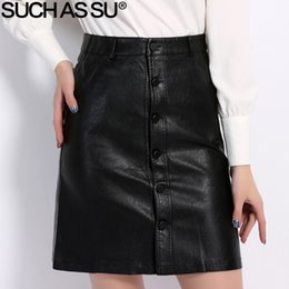 Wholesale Fall Winter Skirts Women Brand Knee length Pu Leather Skirt S M L Xl Xxl Xxxl Plus Size Single breasted Black Skirt Female MX190729