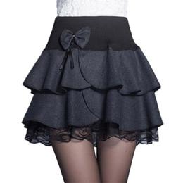 Wholesale skirt woolen high waist for sale - Group buy Autumn Winter Mini Skirt Women New Elastic High Waist Bow Woolen Skirts Female A Line Pleated Skirt Lace Ruffle Cake SkirtAB006
