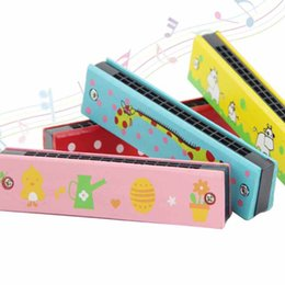 Baby Wood Plastic Harmonica Fun Double Row 16 Holes Harmonica Toy Musical Early Educational Toy Random Color Reliable Performance Toy Musical Instrument